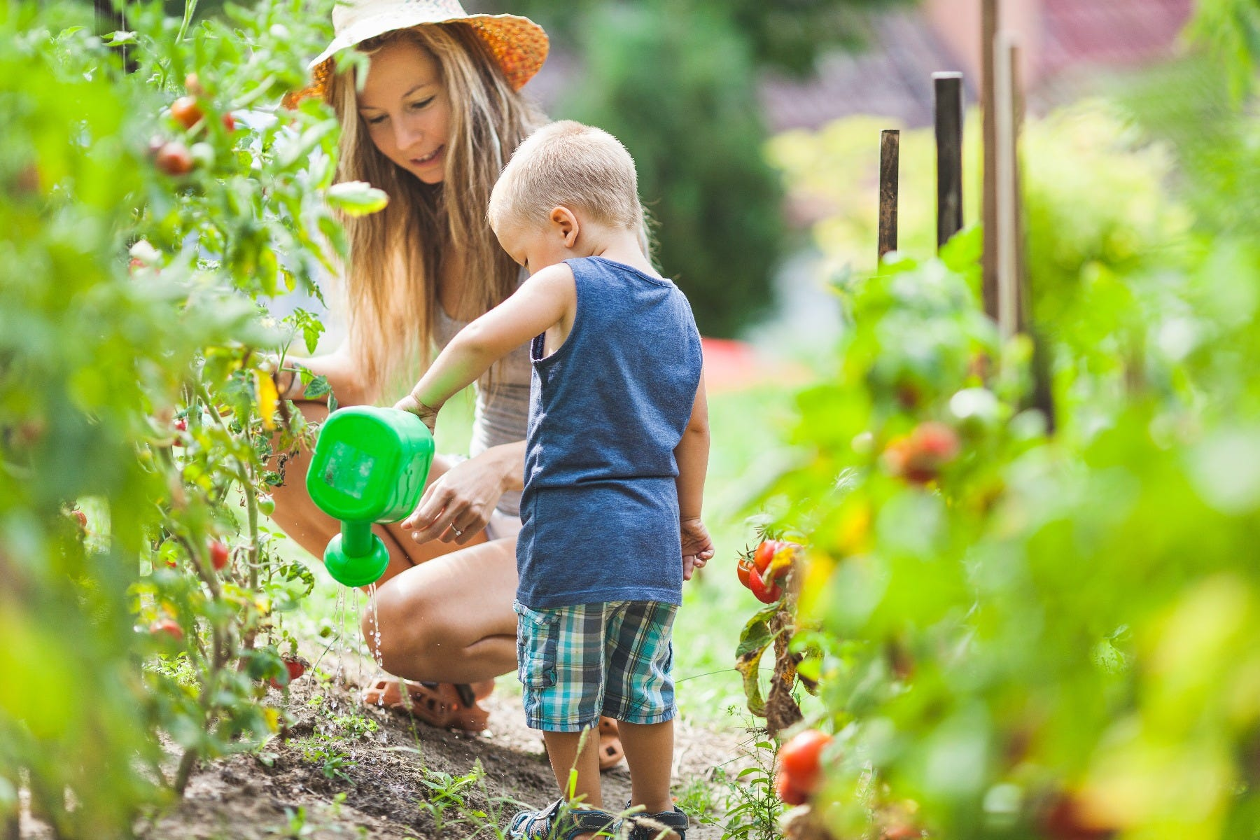 child and mother watering plants gardening
